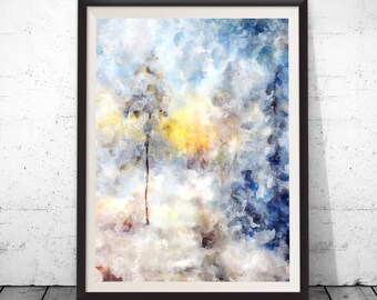 Abstract Landscape, Abstract Painting, Landscape Art, Abstract Art Print, Modern Landscape, Landscape Watercolor, Abstract Watercolor, Blue