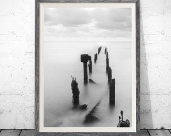 Beach Bridge Print, Black and White Poster, Summer Print, Beach Printable, Travel Decor, Coastal Beach Decor, Sea Wall Decor, Tropical Print