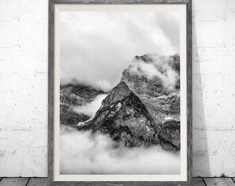 Mountain print, Black and White Mountain, Mountain Art, Landscape Print, Mountain Wall Art Print, Mountain Printable, Wall Decor