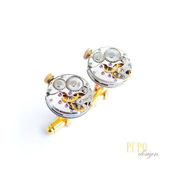 Ideas Gift for men recy Best Man jewellery Groomsmen cufflinks Best Man Gift Round cufflinks Cuff links Steampunk Clockwork cufflinks