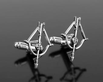 Crossbow Cufflinks, Hunting Cufflinks, Hunting gifts, Bow and Arrow Cufflinks, Weapons cufflinks, Cufflinks for archers, for hunters, Gift