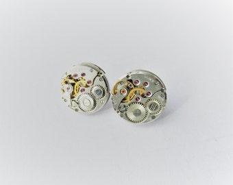Steampunk earrings, Steampunk Stud Earrings With Mechanical Watch Movement, Steampunk jewelry, Watch Movement Earrings, Steampunk, Girl Gift