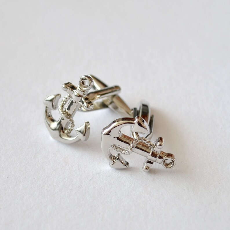 Silver Sailor cuff Wedding Groom Groomsman Ship Beach Cufflinks Boat Cufflinks Nautical Blue Cufflinks for men Nautical Cuff Links