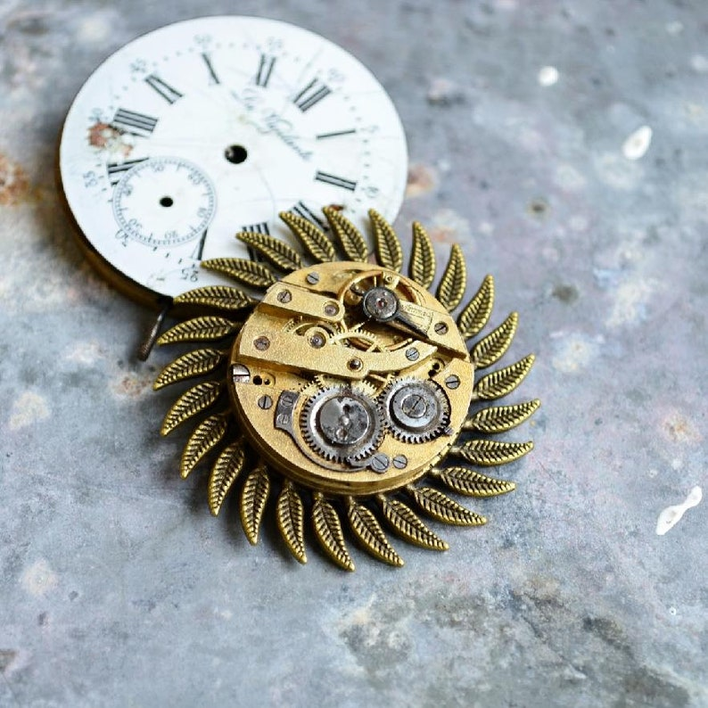 Rare Gold Brooch Steampunk Sun brooch Brooches Unique brooch Swiss Clockwork VintageSteampunk gift Victorian Gift Gold Sun Brooch