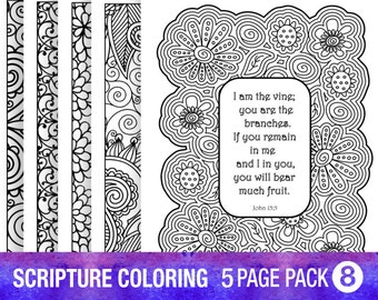 5 bible verse coloring pages set diy adult coloring pages printable sheets inspirational quotes pdf instant download floral wreath