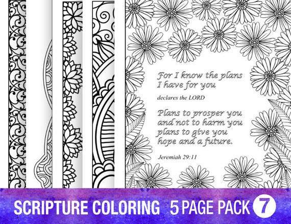 5 Bible Verse Coloring Pages Set Inspirational Quotes Diy Etsy