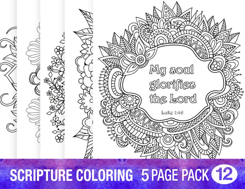5 Bible Verse Coloring Pages Inspirational Quotes Diy Adult Etsy