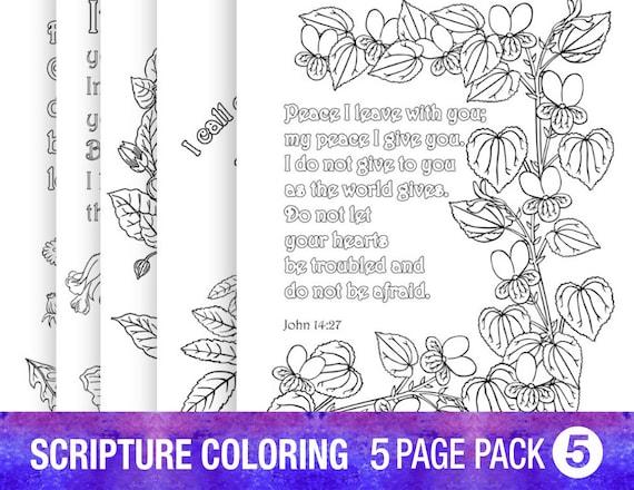 Verso de la Biblia 5 colorear a páginas adulto de citas de | Etsy