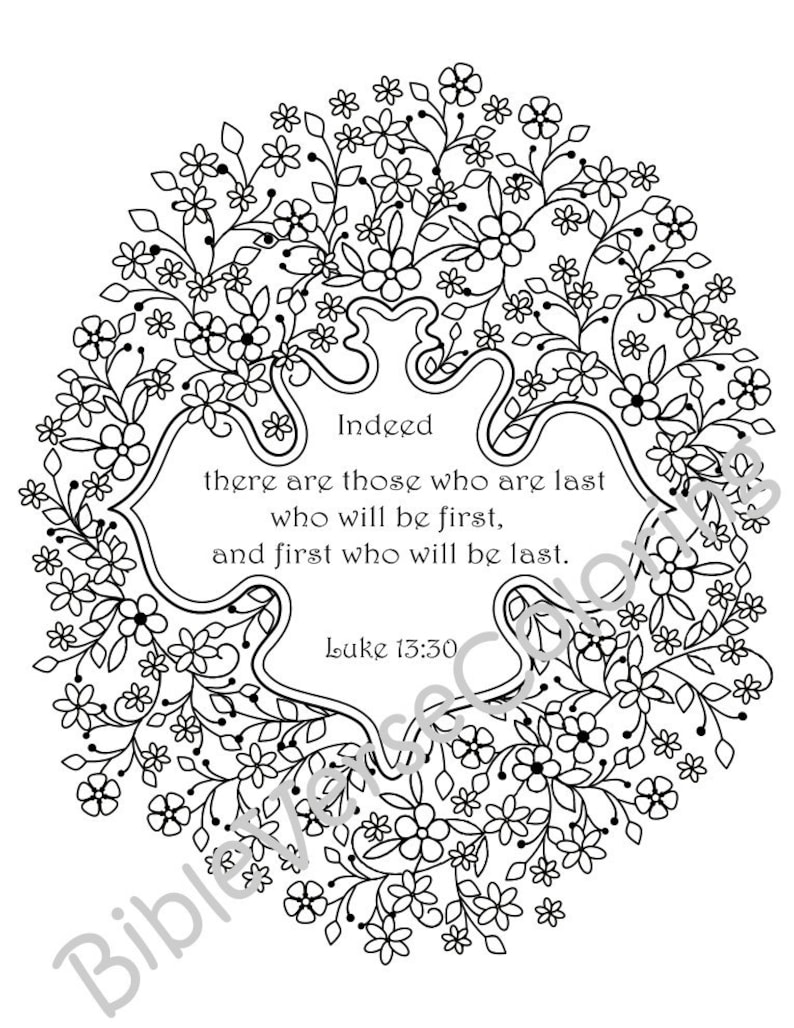 5 Bible Verse Coloring Pages Inspirational Quotes DIY Adult Coloring Pages  Printable Sheets PDF Instant Download Flower