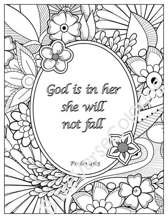 5 Bible Verse Coloring Pages Set Inspirational Quotes DIY ...