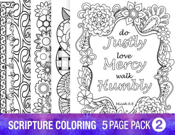 Verso de la Biblia 5 colorear páginas citas de inspiración DIY | Etsy