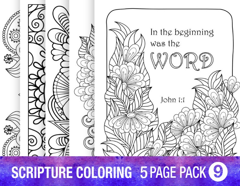 5 Pack Bible Verse Coloring Page Adult Relaxation Diy Coloring Party Inspirational Quote Floral Prayer Journal Pages