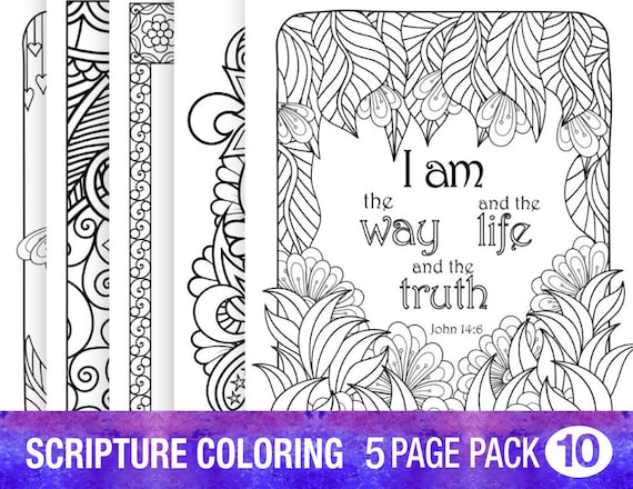 5 Biblia versículo para colorear páginas Set Floral bricolaje | Etsy