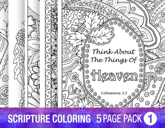 Verso 5 dibujos Biblia para colorear establece a citas de | Etsy