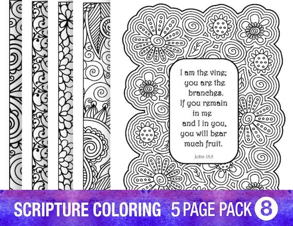 Verso 5 dibujos Biblia para colorear Set bricolaje adulto | Etsy