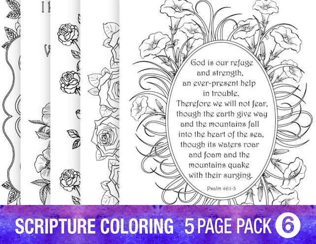 5 Pack Coloring Pages PDF Instant Download Printable Bible