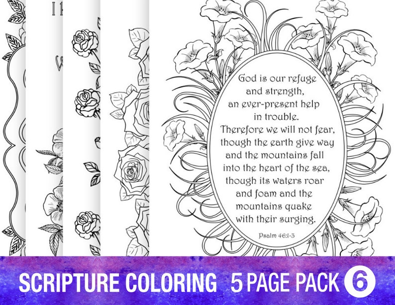 5 Pack Coloring Pages Pdf Instant Download Printable Bible Etsy