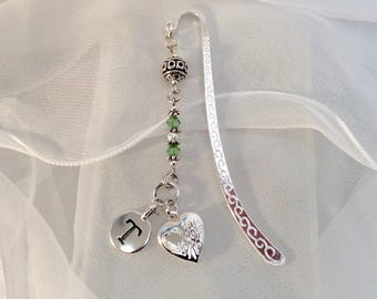 Personalized Bookmark, Gift for Her, Birthstone, Green, Pearl, Teacher's Gift, Heart Locket Charm, Peridot Crystal, Graduation