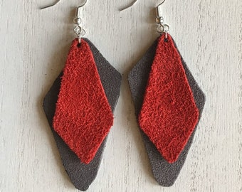 Layered Trapezoid Suede Drop Earrings