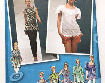 Simplicity 3504 Project Runway Designer Tops Peasant Blouse Customizable Pattern Sizes 4-6-8-10-12