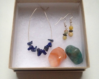 Confidence Booster Gift Set. Hemp Necklace, Earrings, stones.Lapis Lazuli, Peridot. Crystals for confidence