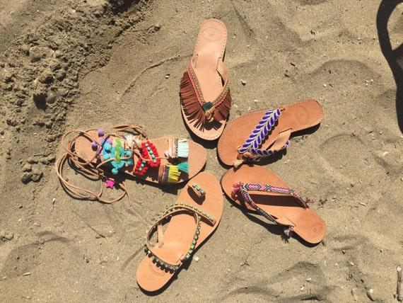 sandales artisanat antiques Sandales gladiateur fabriqu pom fait de sandales cuir Pom Boho sandales grecques main Egst en grecques sandales 88qwr5fP7