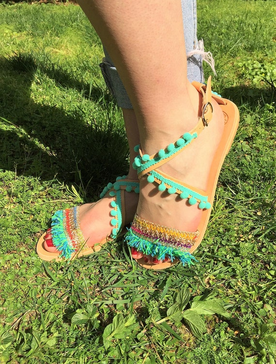 Leather Made Greek Handmade in Sandas Bohemian Eye Sandals Sandals Summer Hippie Sandals Evil sandals Greece shoes Barefoot Egst pqgag5ry