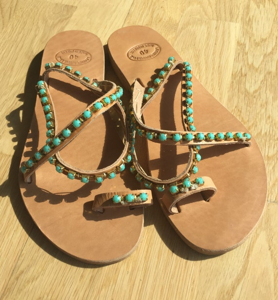 Leather Greece sandals Sandals Greek sandals Made Turquoise sandals in beads Barefoot Leather sandals Elegant F6xZ8q
