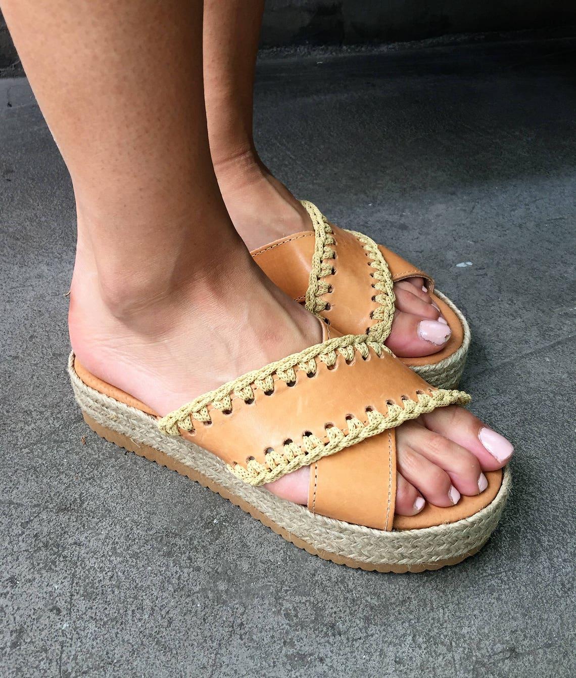 Greek sandals,  Leather Platforms, Crochet Sandals