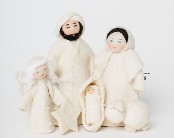 Felt Nativity Scene, Snow White Nativity Scene, Felt Christmas Nativity