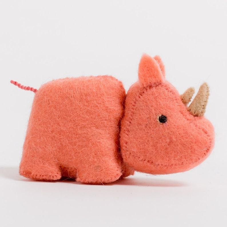 Faithful Rhino Pink Felt Rhino Ornament Felt Christmas Ornament