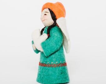 Felt Fairy Ornament, Peace Offering Fairy, Felt Christmas Ornament