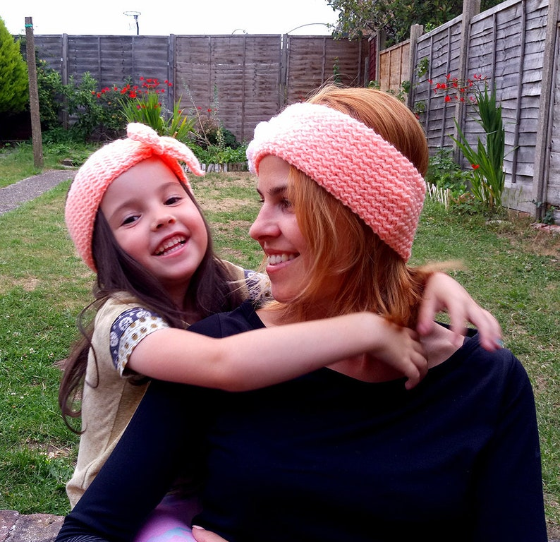Mother and daughter colorful rainbow headbands set salmon pink