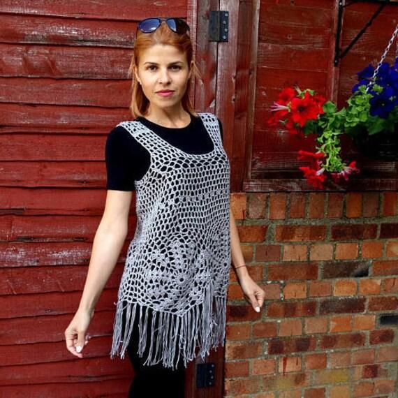 Free shippingBlue bohemian summer woman top fringe crochet shirt singletknitting shirtbeech wearready to shipfringe crochet shirt