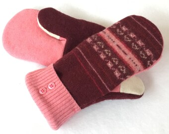 Sweater Mittens,  Recycled Sweater Mittens, Fleece Lined Mittens, Gift, Pink, Wool Mittens, Felted Wool
