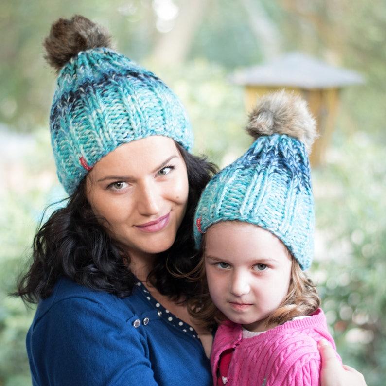 175a753c9b41d Matching knit hats   Pom pom hats   Winter hats   Wool hat