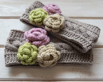 Mommy and me headbands Matching headbands Knit wool ear warmer Knit wool headband Mother and daughter headbands Cute gift for her