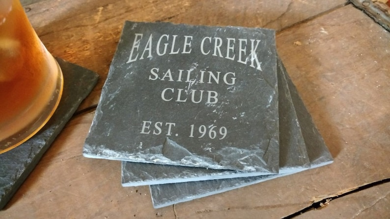 Sailing Club Gift, Sailboat Gift, Custom Coasters, Lake House Gift,  Personalized Coasters, Wedding Gift, Groom Gift, Set of 4 - LES1100006