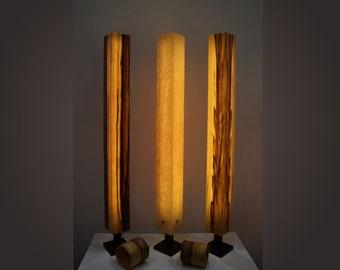 Stehleuchte Stehlampe Holz Furnier LED BrennHolz Design