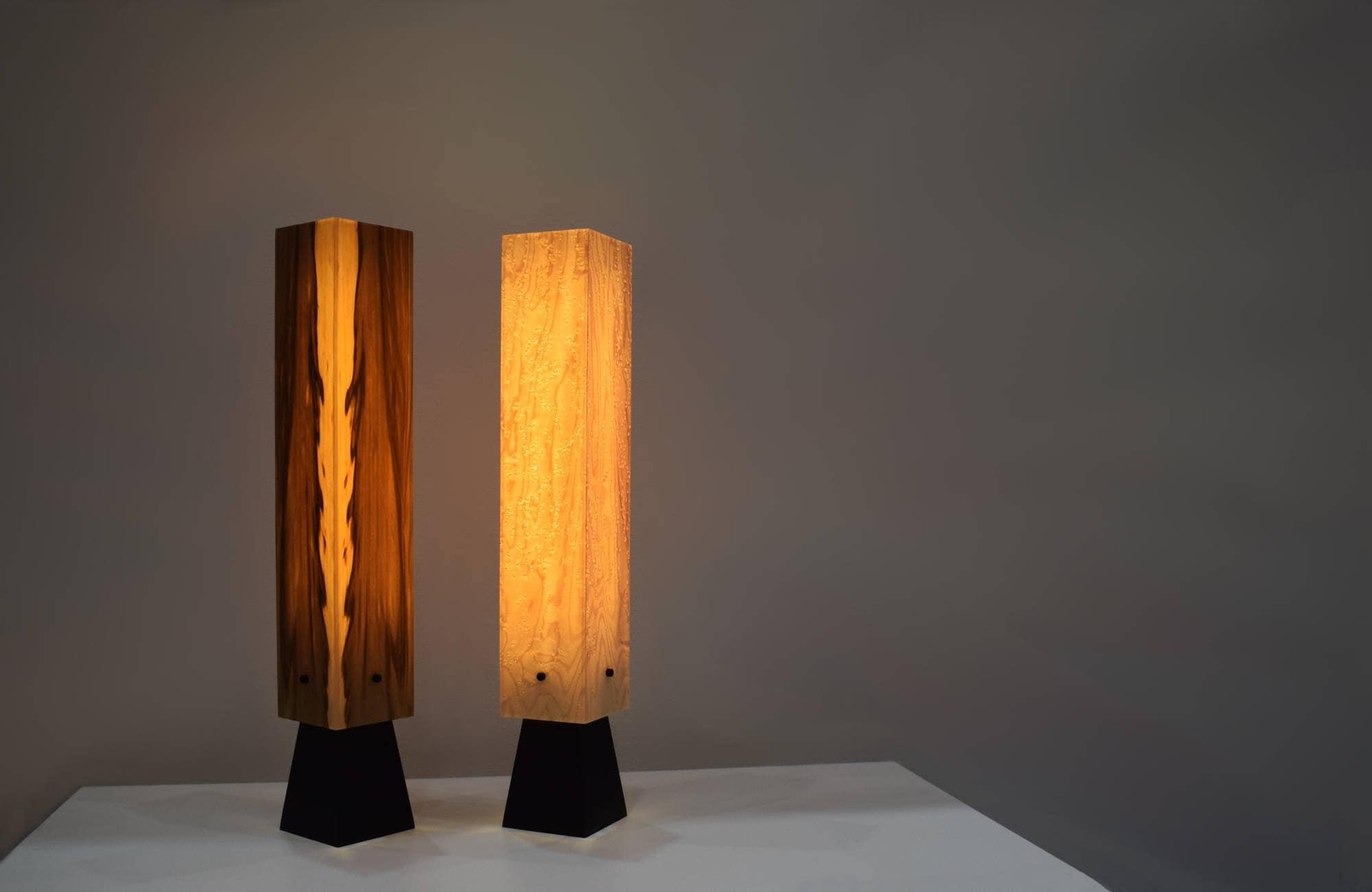 holzlampe tischlampe aus holz echtholzfurnier led mit etsy. Black Bedroom Furniture Sets. Home Design Ideas