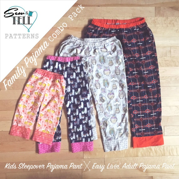 Family Pajama Pants Pattern Easy Livin' And Sleepover Etsy Magnificent Pajama Pants Pattern