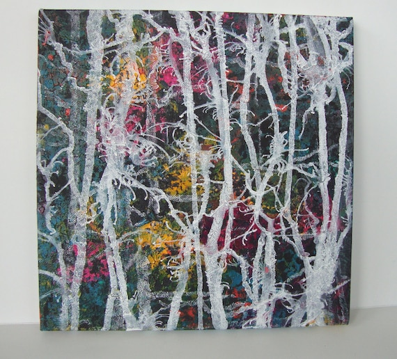 abstract painting square canvas art white tree painting etsy rh etsy com