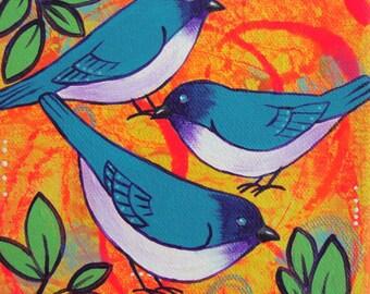 Trio of blue birds painting, bright colorful bird art, small canvas artwork, nature decor, home decor, animal art, gift for her, nursery art