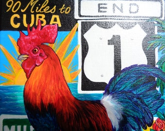 Key West art, rooster painting, vacation art, colorful sign art