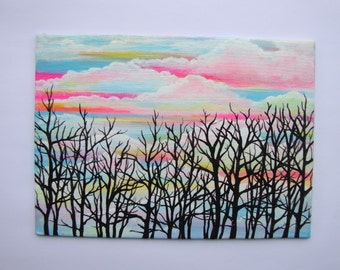 clouds and trees art, small canvas, acrylic painting, landscape art, tree paintings