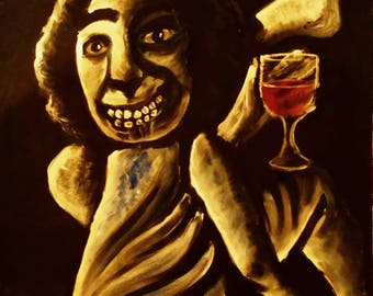 The Excorcist smoking and drinking original acrylic on canvas