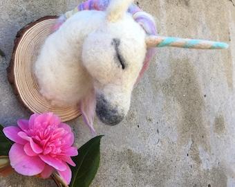 Handmade felt wool unicorn - Felted faux taxidermy head - Wall mount