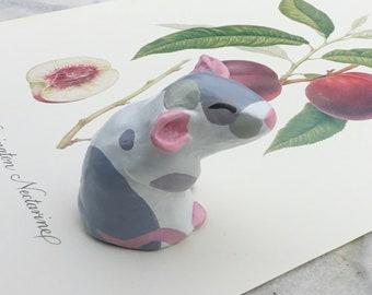 Custom clay rat replica portrait, 3D Pet Sculpture, Handmade by Rachel Allsop