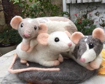 Custom Needle-felt Rat Portrait, 3D Pet Sculpture, Handmade by Rachel Allsop