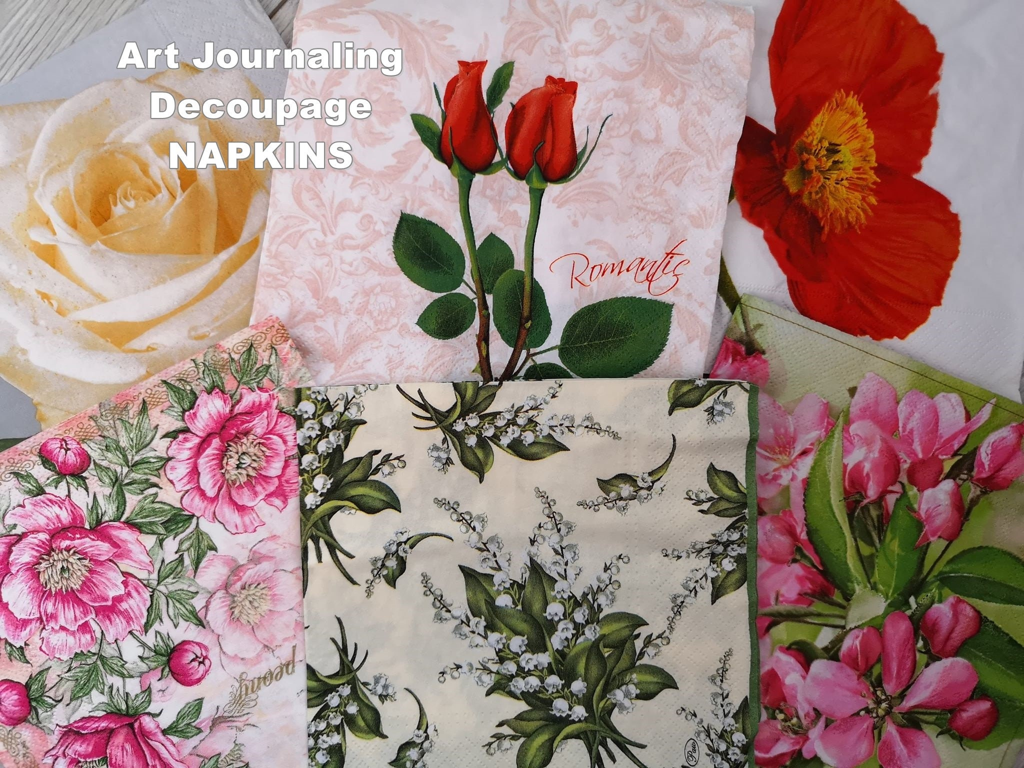 Set Of 6 Paper Napkins For Art Journaling Decoupage Collage Etsy